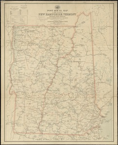 Post route map of the states of New Hampshire, Vermont showing post offices with the intermediate distances on mail routes in operation on the 1st of December, 1903