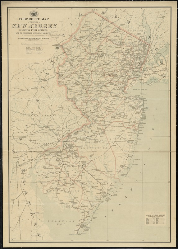 Post route map of the state of New Jersey showing post offices with the intermediate distances on mail routes in operation on the 1st of December, 1903