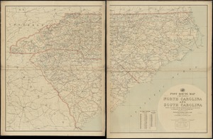 Post route map of the states of North Carolina and South Carolina showing post offices with the intermediate distances and mail routes in operation on the 1st of December, 1897