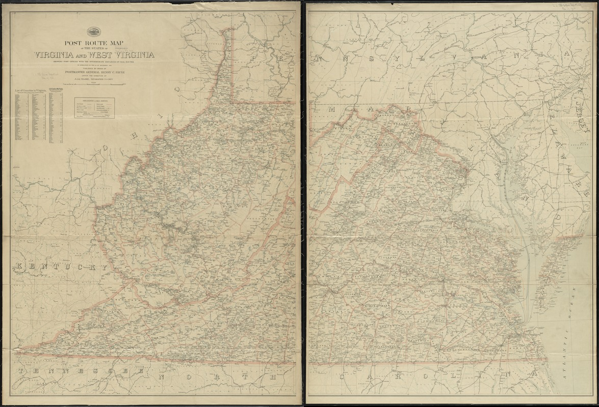Post route map of the states of Virginia and West Virginia showing post offices with the intermediate distances on mail routes in operation on the 1st of December, 1903