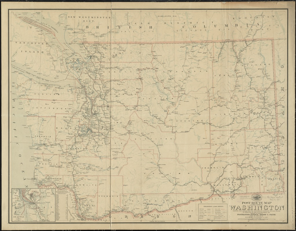 Post route map of the state of Washington showing post offices with the intermediate distances and mail routes in operation on the 1st of December, 1903
