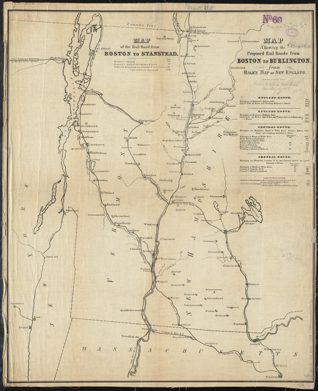 Map of the rail road from Boston to Stanstead