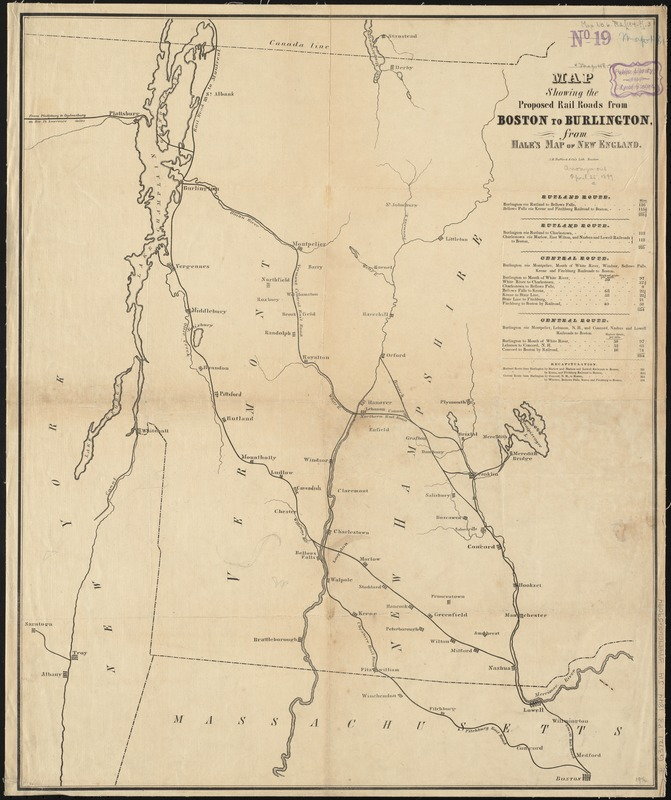 Map showing the proposed rail roads from Boston to Burlington, from Hale's map of New England