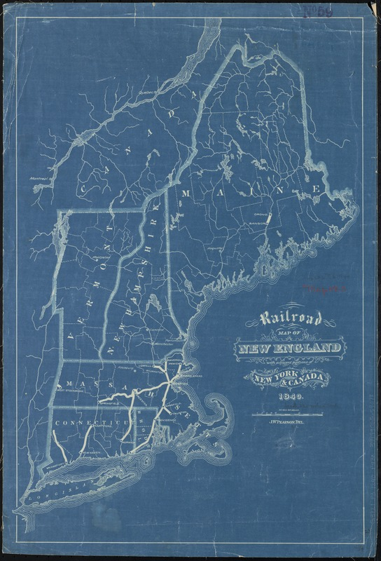 Railroad map of New England, with adjacent portions of New York & Canada
