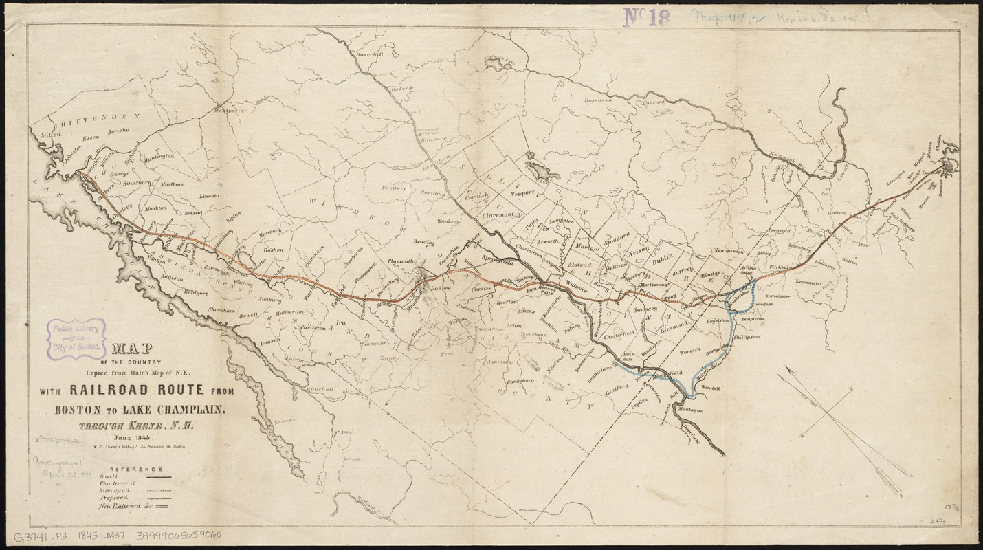 Map of the country copied from Hale's map of N. E. with railroad route from Boston to Lake Champlain
