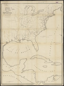 Skeleton map showing the rail roads completed and in progress in the United States and their connection as proposed with the harbor of Pensacola