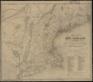 Map of New England exhibiting the rail road & telegraphic lines now in operation