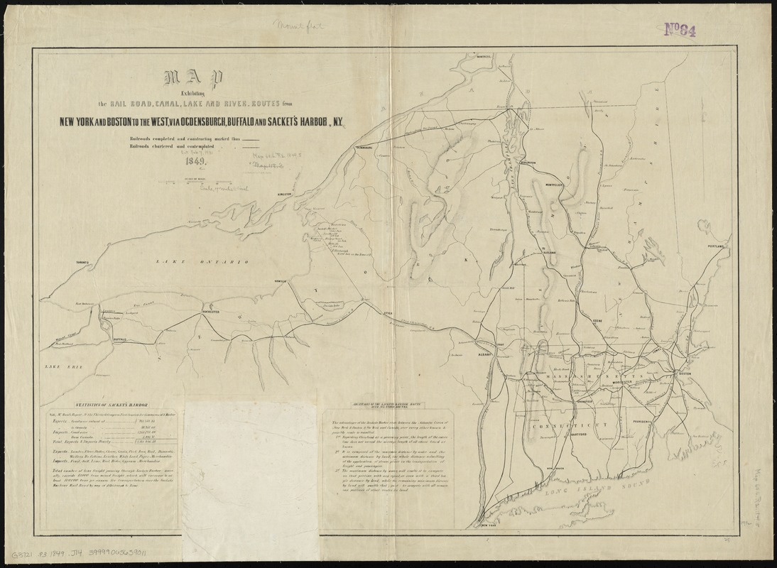 Map exhibiting the rail road, canal, lake and river routes from New York and Boston to the west, via Ogdensburgh, Buffalo and Sacket's Harbor, N.Y
