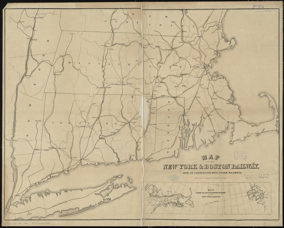 Map of the New York & Boston Railway, with its connections with other railways