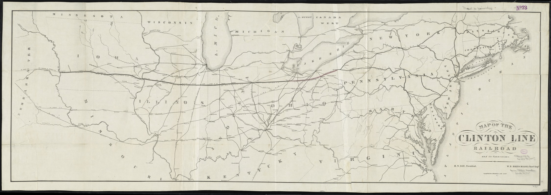 Map of the Clinton Line Railroad and its connections