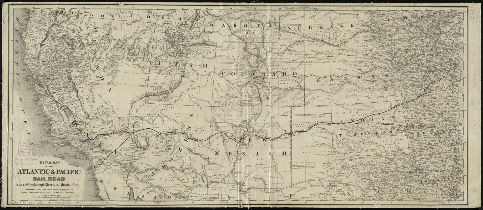 Detail map of the Atlantic & Pacific Rail Road from the Mississippi River to the Pacific Ocean