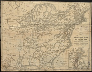 Dinsmore's new railroad map of the United States and the Canadas, showing all the railroads completed and in progress, carefully compiled from official sources, for Dinsmore's railroad guide