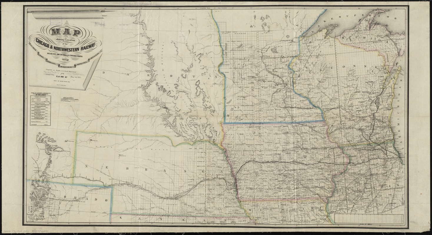 Map showing location of the Chicago & Northwestern Railway with its branches & connections through Illinois, Iowa, Nebraska, Wisconsin, Minnesota, Michigan