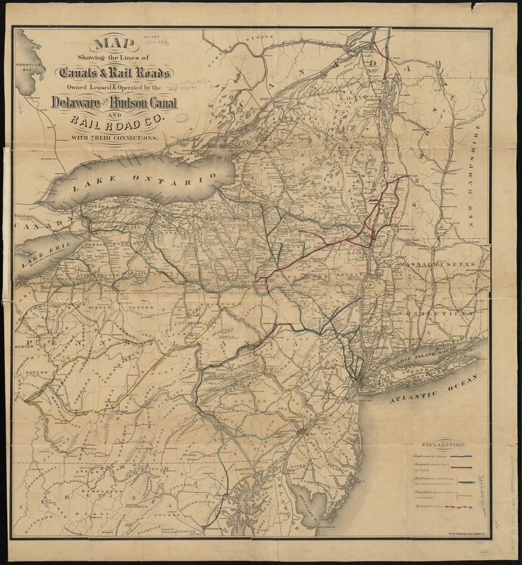 Map showing the lines of canals & rail roads owned, leased & operated by the Delaware and Hudson Canal and Rail Road Co. with their connections
