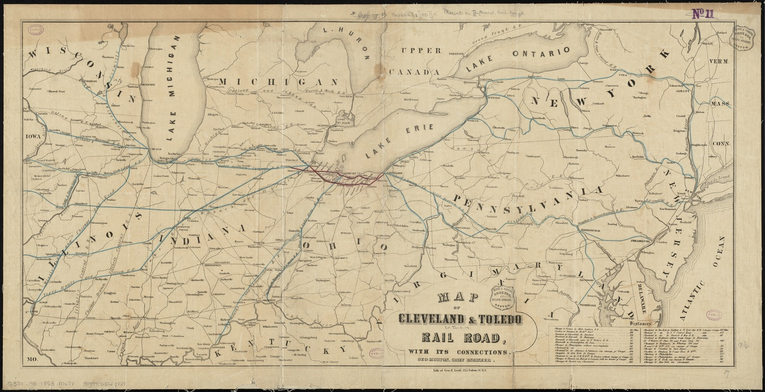 Map of Cleveland & Toledo Rail Road, with its connections