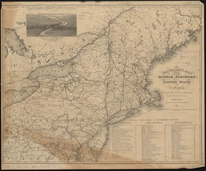 Traveller's map of the middle, northern, eastern states and Canada showing all the railroad, steamboat, canal, and principal stage routes