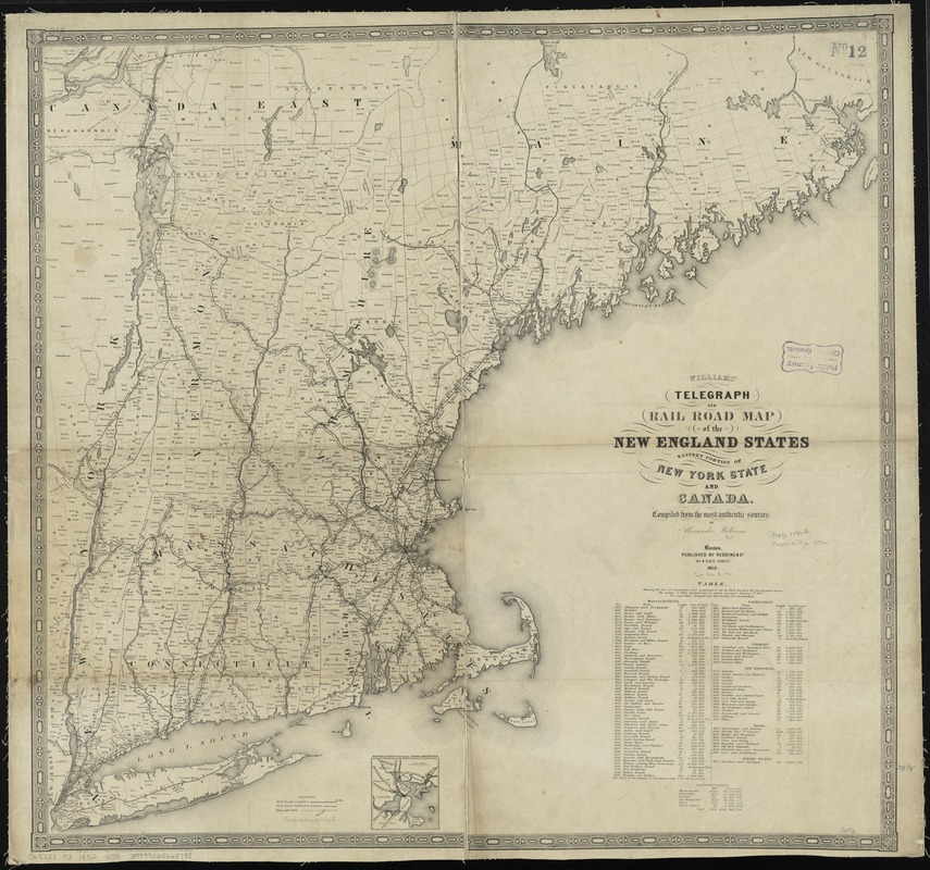 Williams' telegraph and rail road map of the New England states, eastern portion of New York state and Canada