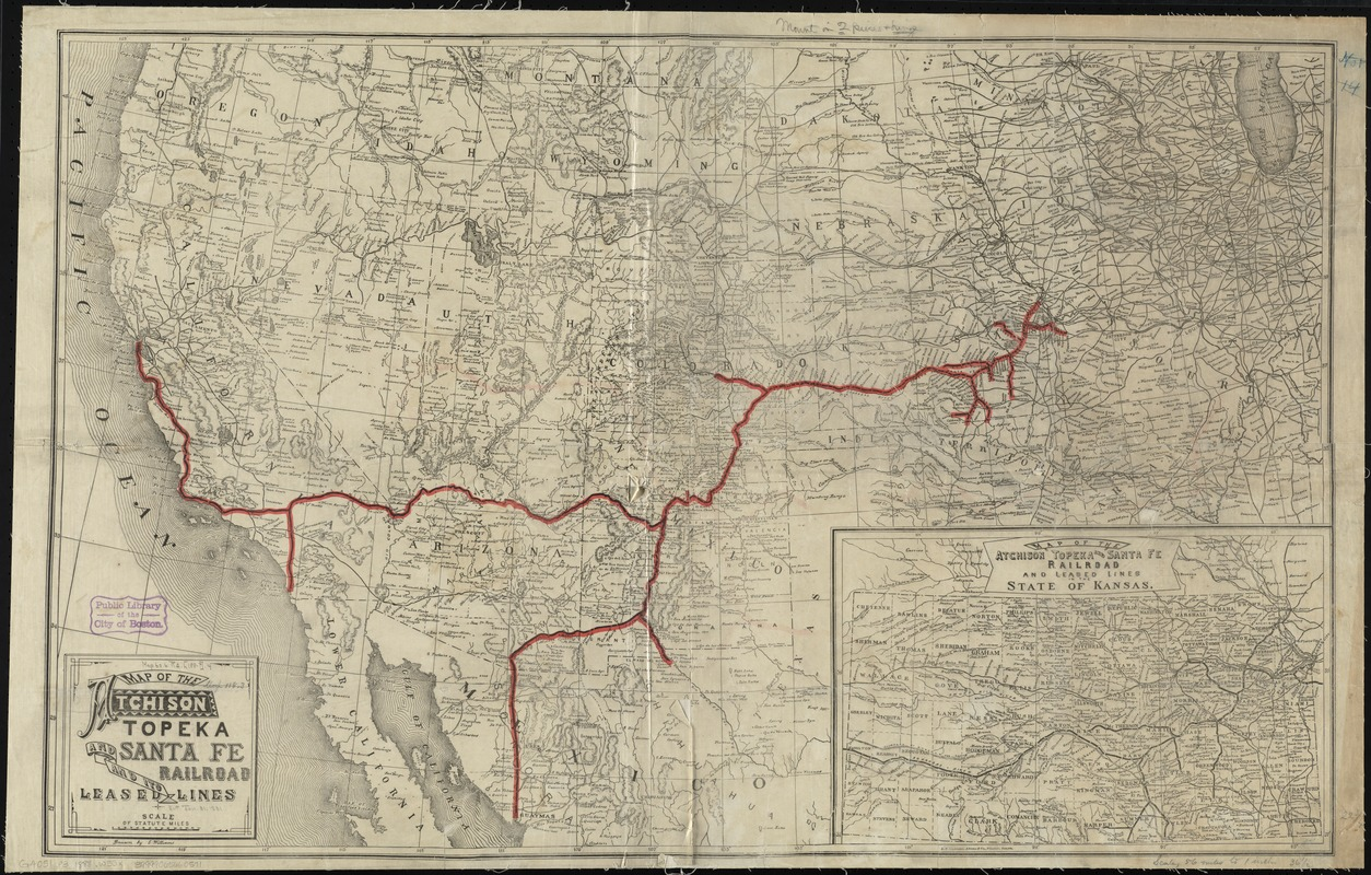 Map of the Atchison Topeka and Santa Fe Railroad and its leased