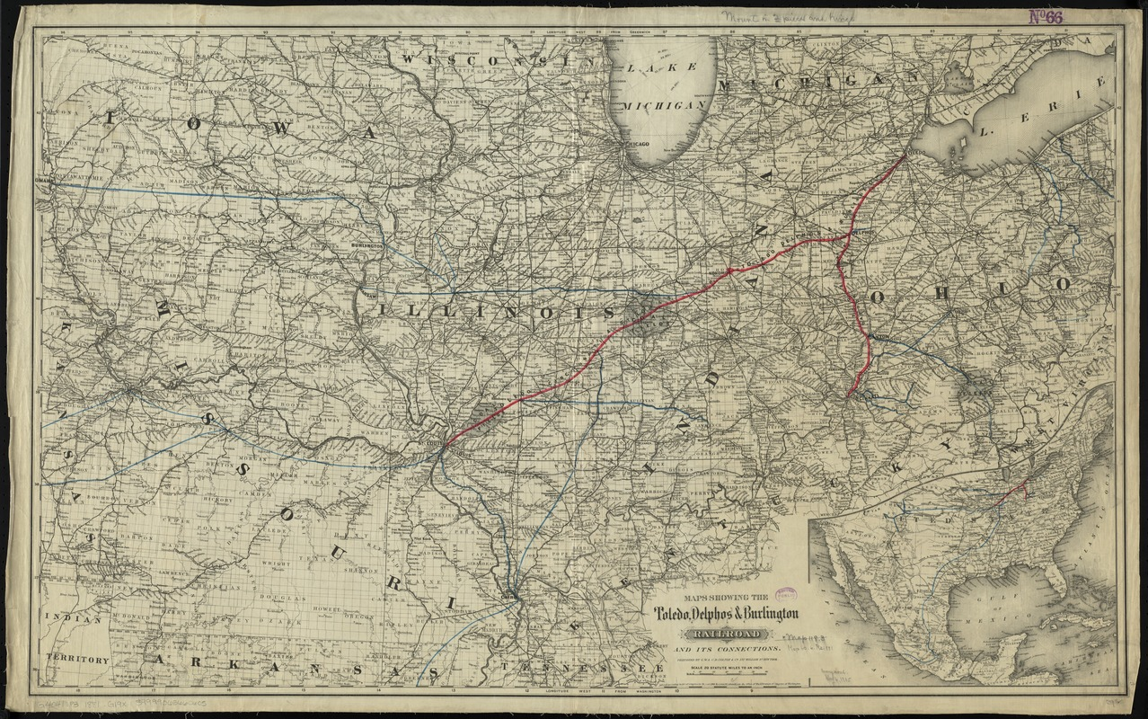 Maps showing the Toledo, Delphos & Burlington Railroad and its connections