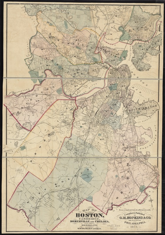 Map of the cities of Boston, Cambridge, Somerville and Chelsea, and the town of Brookline with parts of Newton, Malden and Everett
