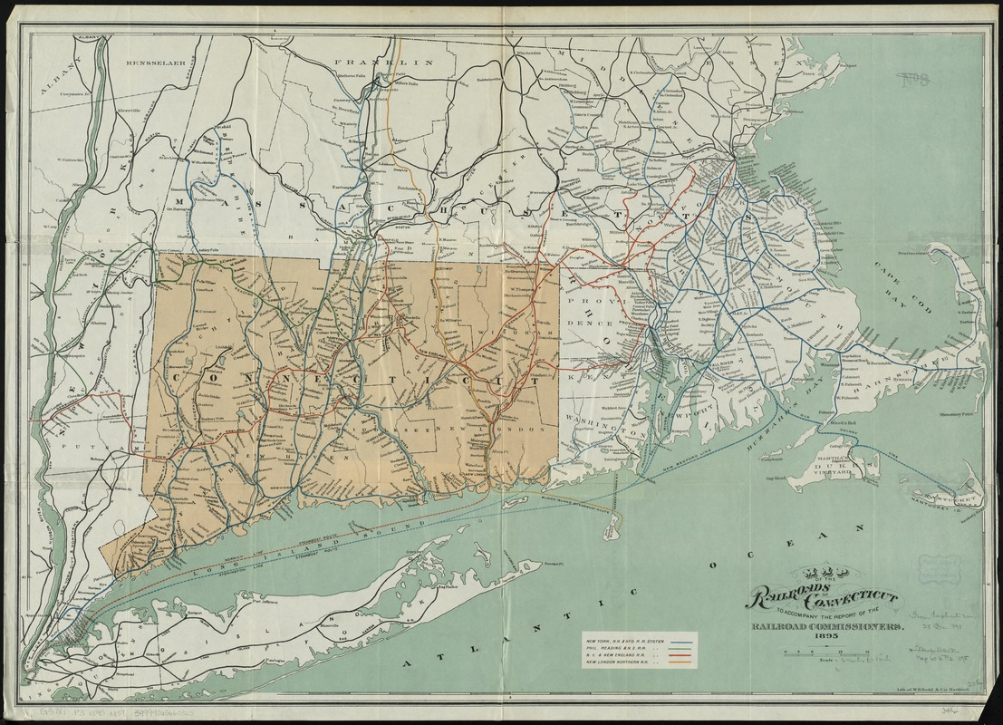 Map of the railroads of Connecticut