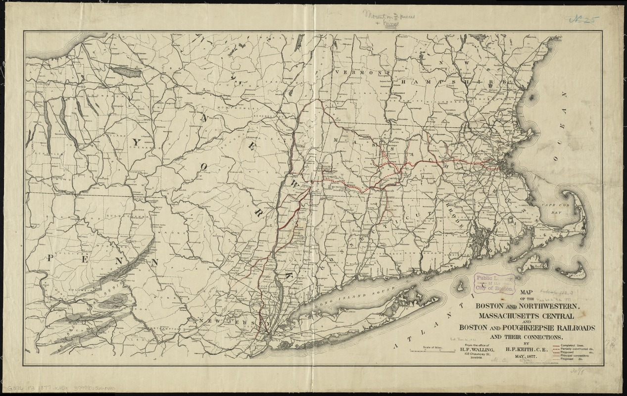 Map of the Boston and Northwestern, Massachusetts Central, and Boston and Poughkeepsie Railroads and their connections