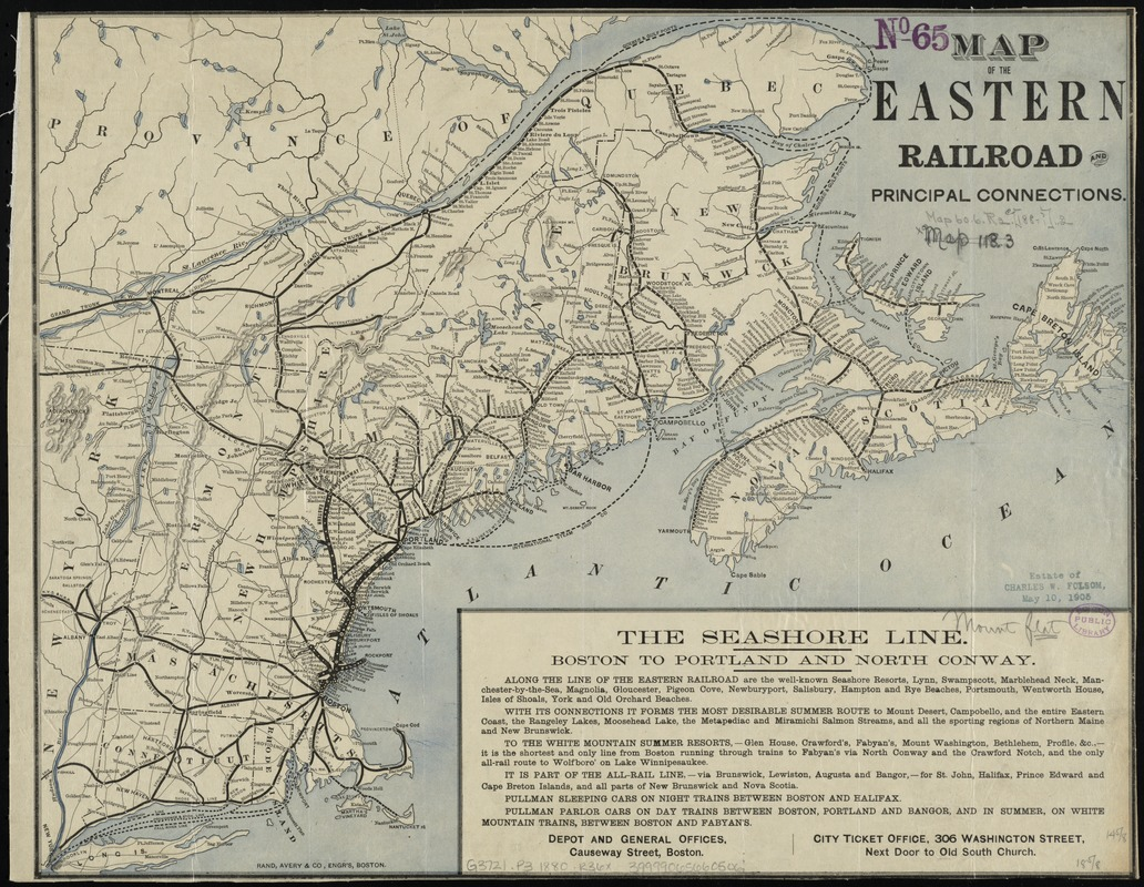 Map of the Eastern Railroad and principal connections