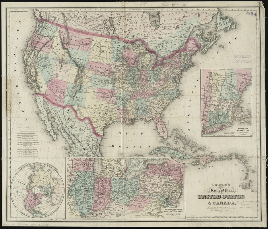 Coltons New Railroad Map Of The United States Canada Norman B - Railroad-us-map
