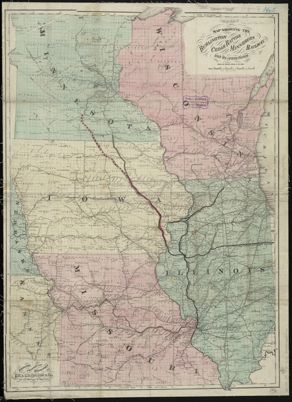Map showing the Burlington, Cedar Rapids and Minnesota Railway and its connections