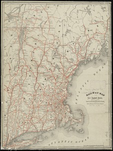 Railway map of the New England states, engraved expressly for the Pathfinder railway guide