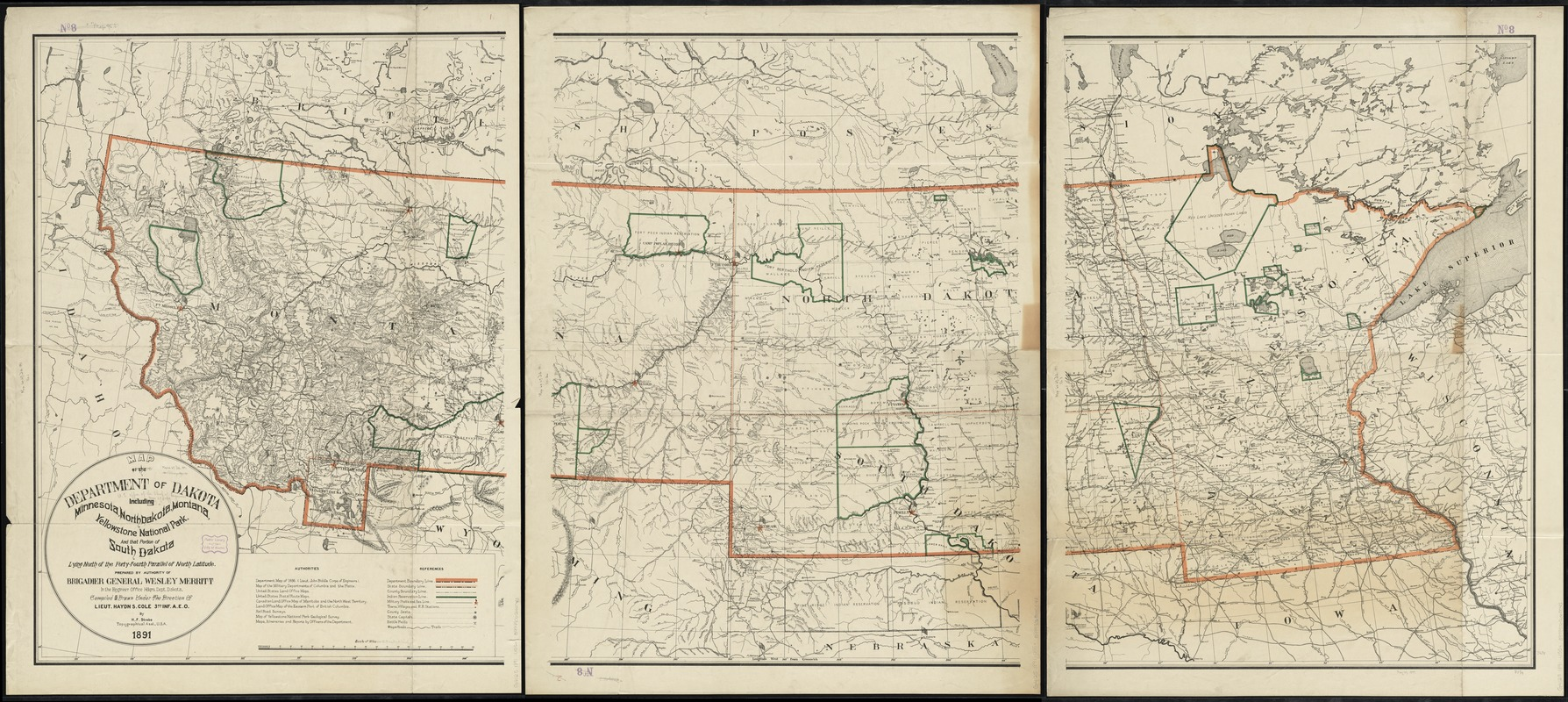 Map Of The Department Of Dakota Including Minnesota North Dakota