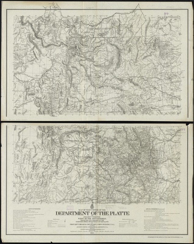 Map of that portion of the Department of the Platte and adjacent territory west of the 103rd meridian
