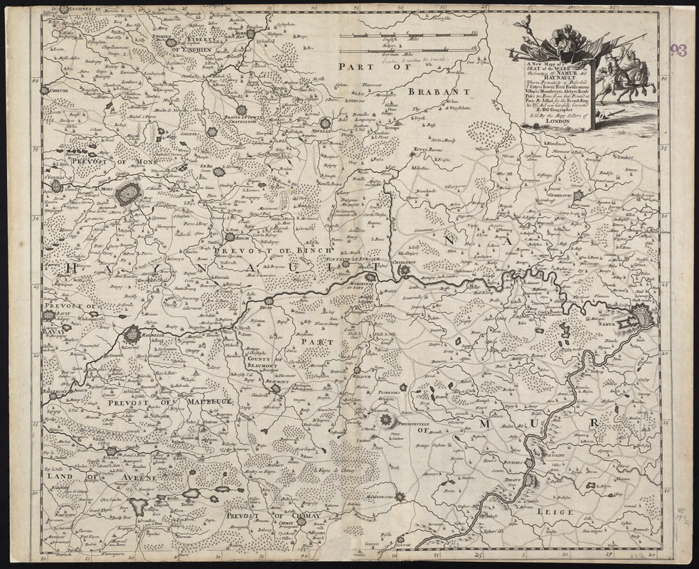 A new mapp of ye seat of the warr in the counties of Namur and Hainault wherin perticulerly is described ye cittyes town's fort's fortifications villages monasteryes abbyes roads pases &c