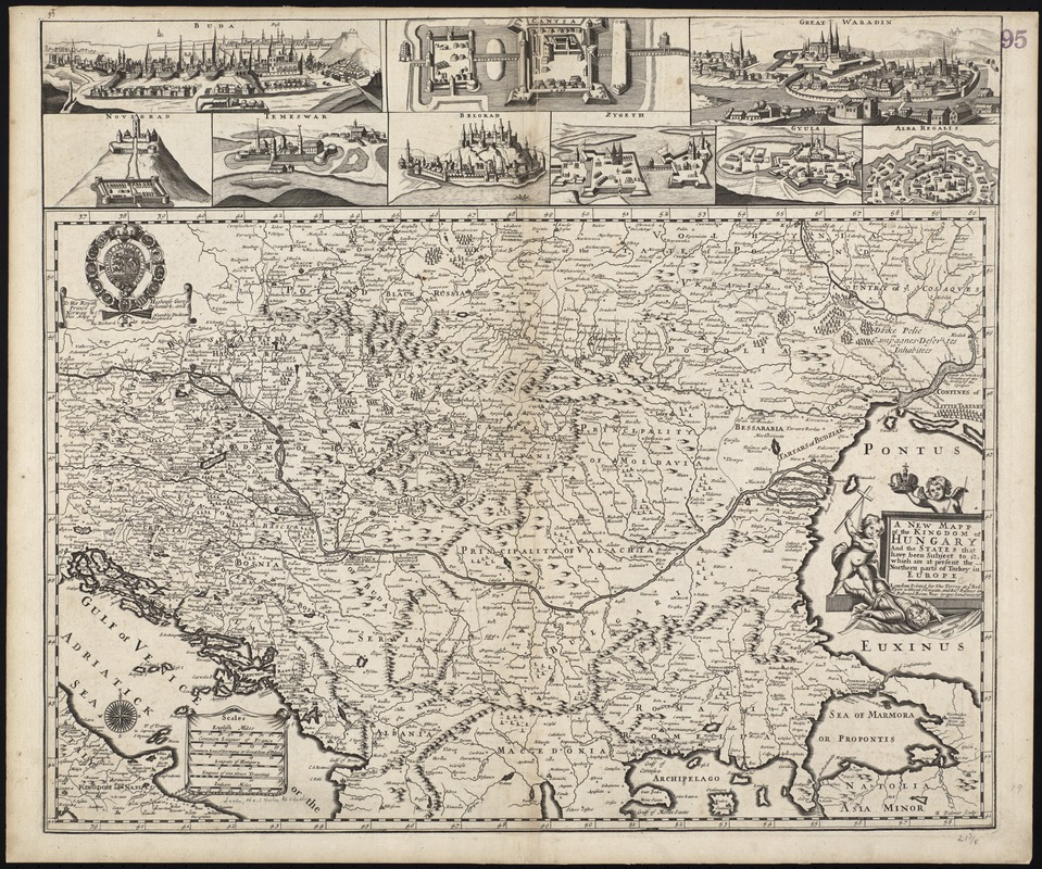 A new mapp of the Kingdom of Hungary and the states that have been subject to it, which are at present the northern parts of Turkey in Europe