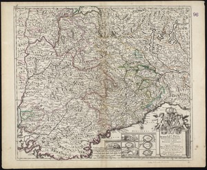 A New Map of ye Dukedome of Savoy, Principality of Piedmont county of Nice Dukedome of Monferret, and ye adjacent countries of Milan, Dauphine Provence &c. with ye roads & passages over the Alpes into France &c