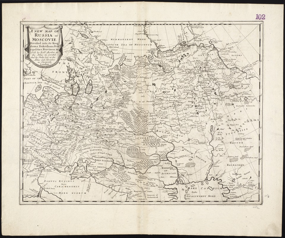 A new map of Russia or Moscovie divided into its Kingdoms, Dukedoms, Principalities, Provinces, &c
