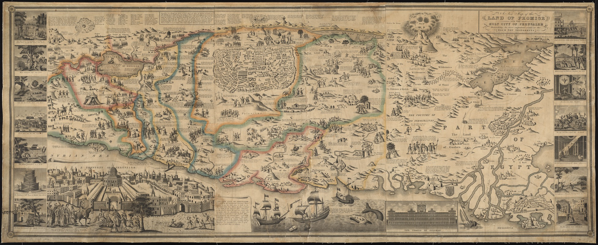 A new map of the Land of Promise and the holy city of Jerusalem describing the most important events in the Old & New Testaments