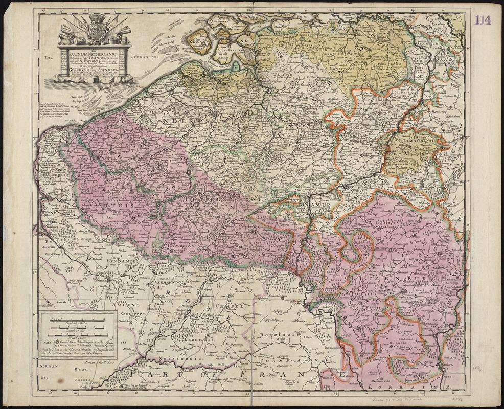 The Spainish Netherlands, vulgarly called Flanders, devided into its X provinces, wherein are delineated the fortified towns roads &c