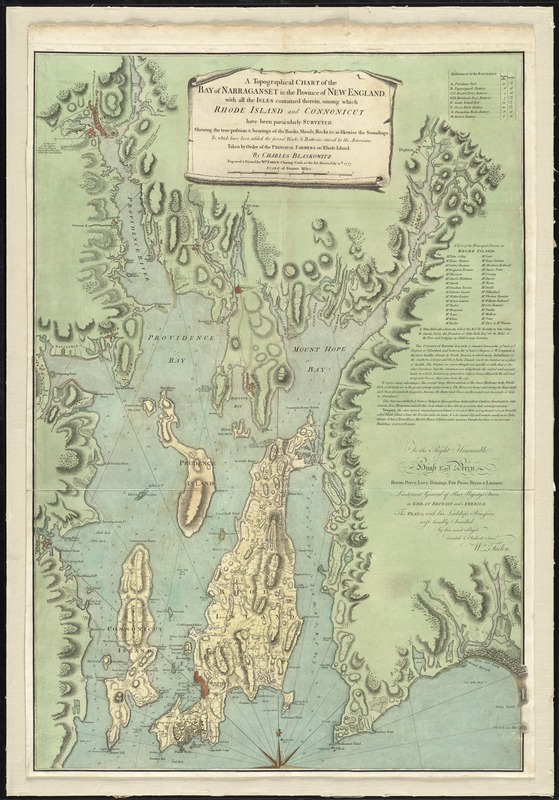 A topographical chart of the bay of Narraganset in the province of New England