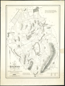 A map of the town of Sharon, Mass