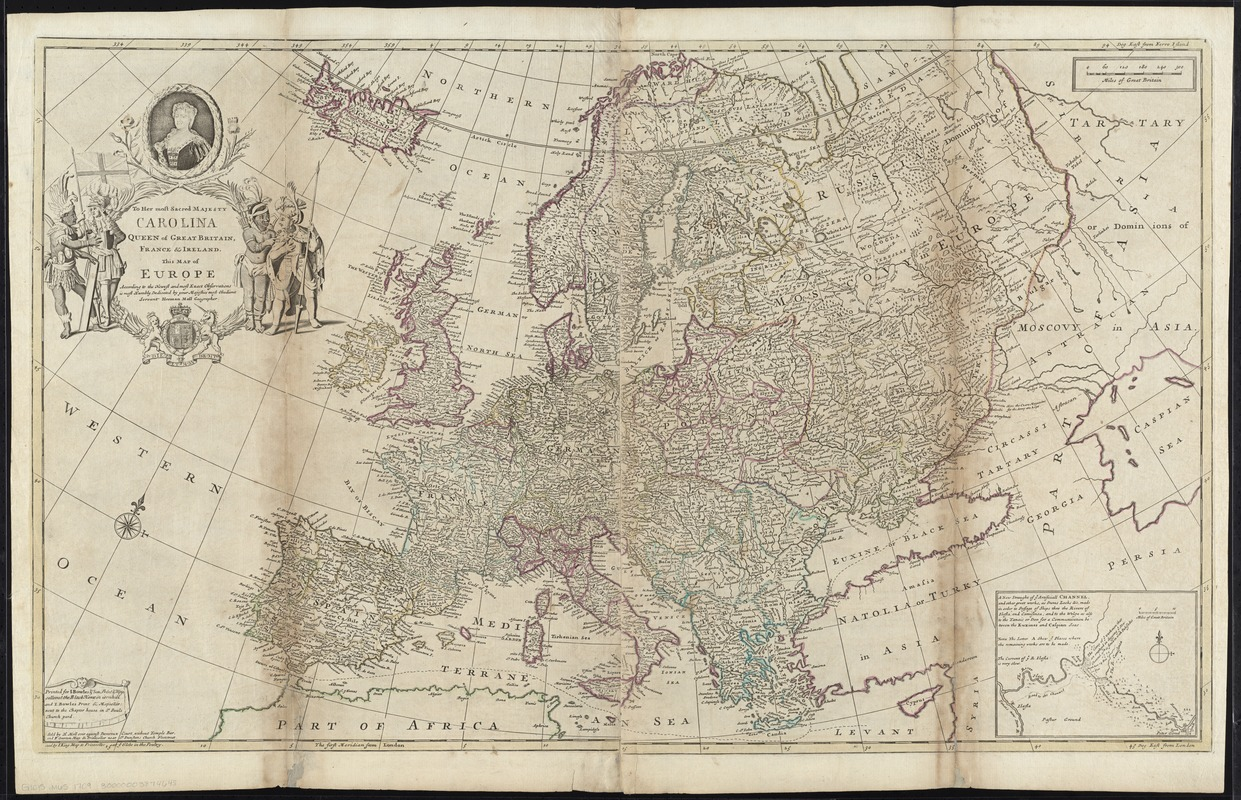 To Her most Sacred Majesty Carolina Queen of Great Britain, France & Ireland, this map of Europe, according to the newest and most exact observations, is most humbly dedicated