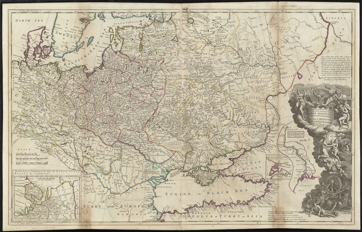 To His Most Serene and August Majesty Peter Alexovitz absolute lord of Russia &c. this map of Moscovy, Poland, Little Tartary, and ye Black Sea &c. is most humbly dedicated