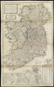 A new map of Ireland divided into its provinces, counties and baronies, wherein are distinguished the bishopricks, borroughs, barracks, bogs, passes, bridges &c. with the principal roads, and the common reputed miles