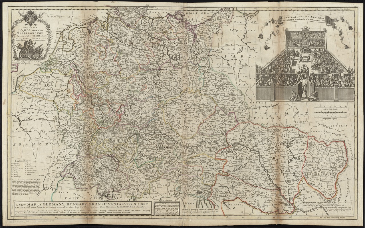 A new map of Germany, Hungary, Transilvania & the Suisse cantons
