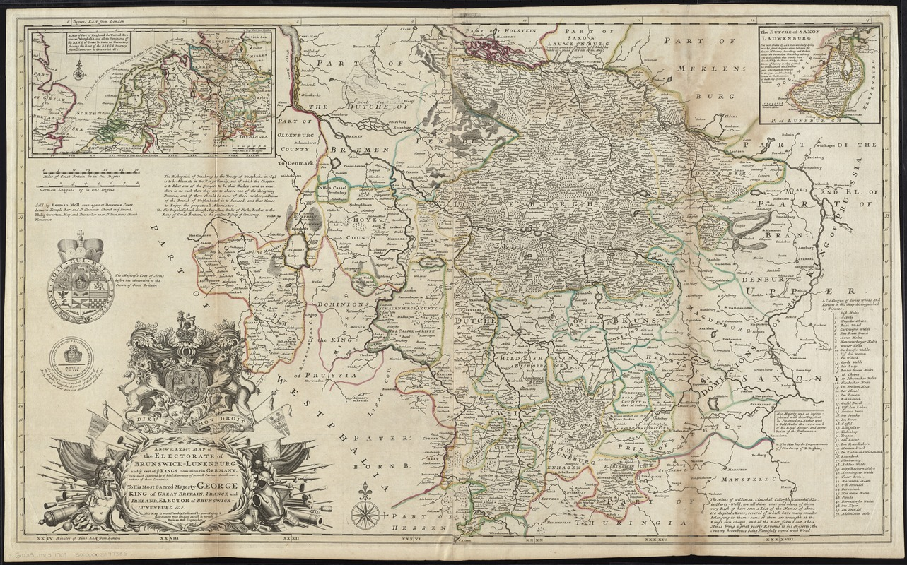 A new & exact map of the electorate of Brunswick-Lunenburg and ye rest of ye Kings dominions in Germany
