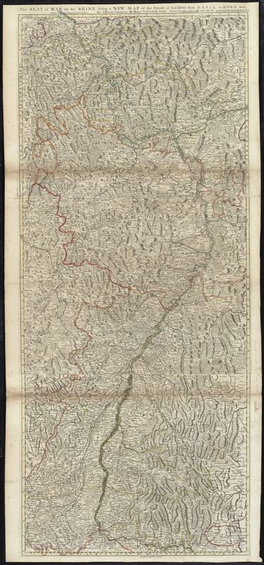 The seat of war on the Rhine being a new map of the course of that river from Basil to Bonn with the adjacent countries