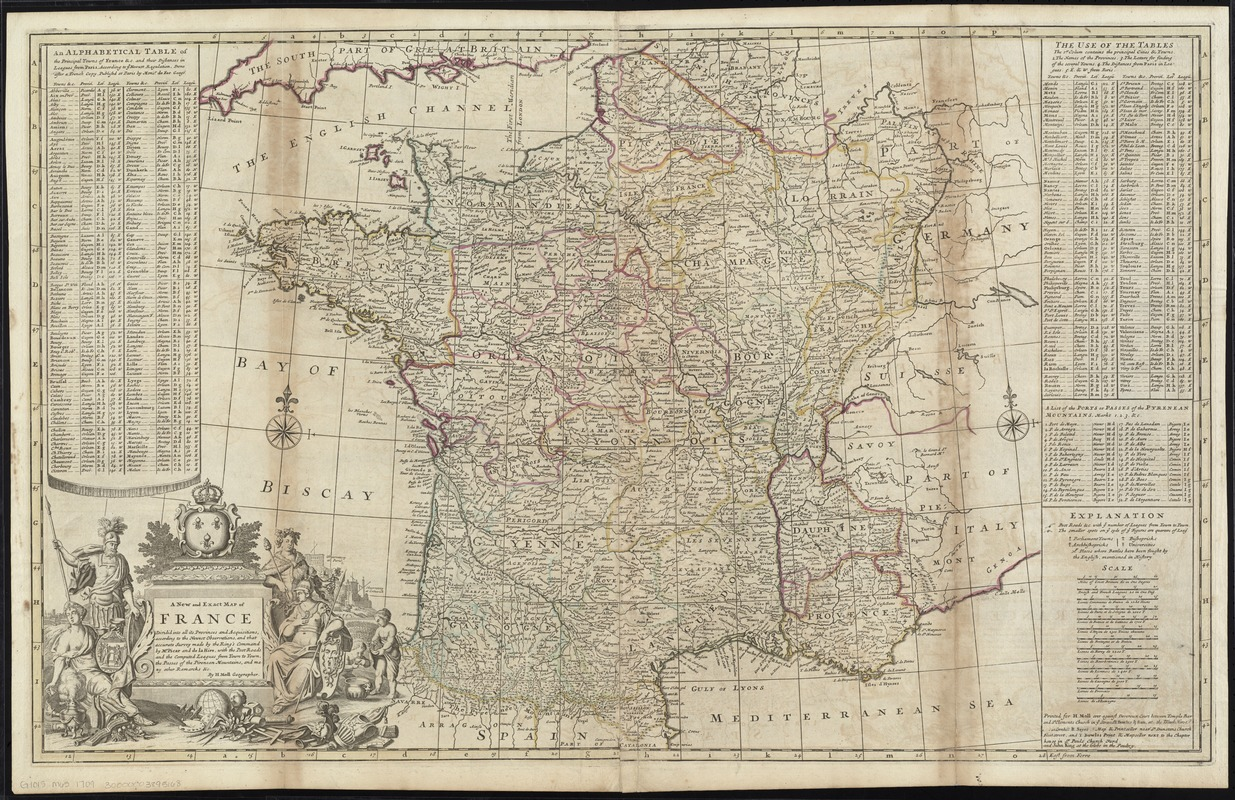 A new and exact map of France divided into all its provinces and acquisitions, according to the newest observations, and that accurate survey made by the King's command by Mr. Picar and de la Hire, with the post roads and the computed leagues from town to town, the passes of the Pirenean Mountains, and many other remarcks &c