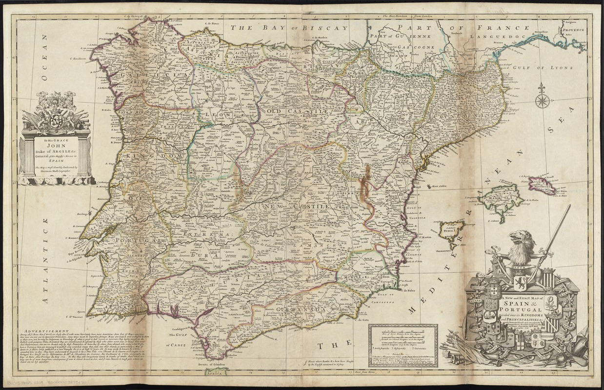 A new and exact map of Spain & Portugal divided into its kingdoms and principalities &c with ye principal roads and considerable improvements