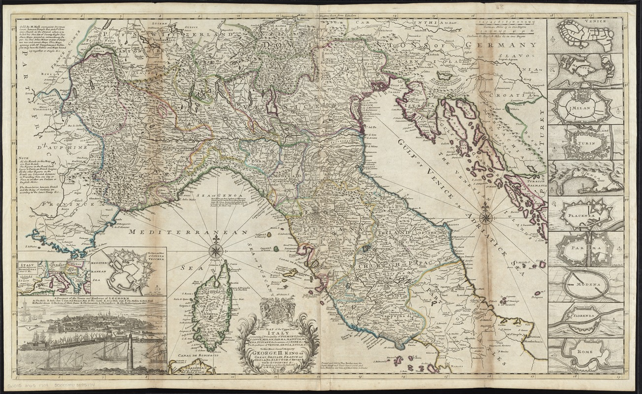 A new map of the upper part of Italy containing ye principality of Piemont ye Dutchies of Savoy, Milan, Parma, Mantua, Modena, Tuscany, the dominions of ye Pope &c. the republiques of Venice, Genoe, Lucca &c
