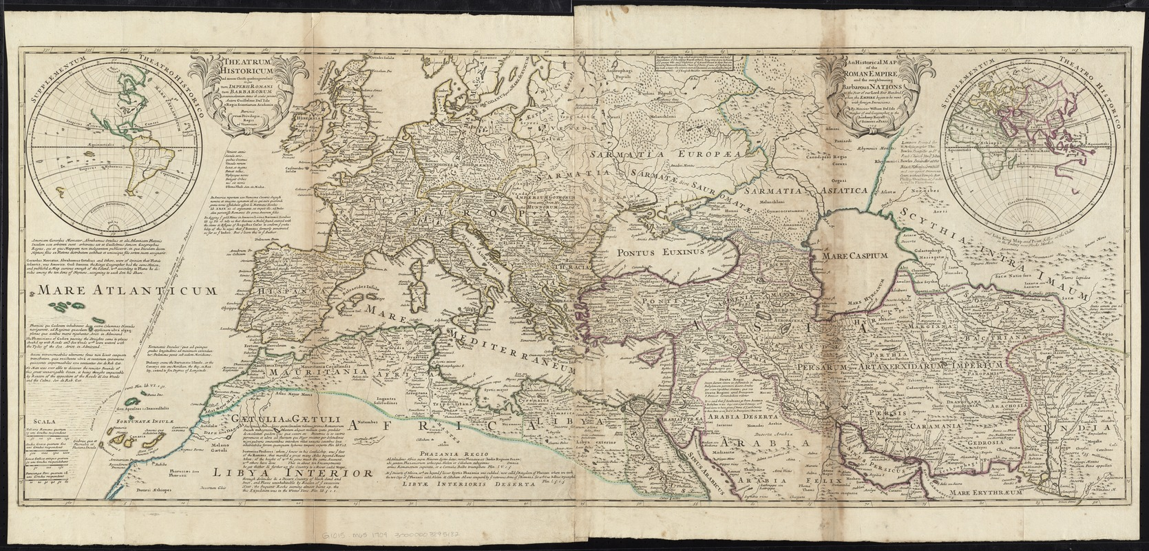 An historical map of the Roman Empire and the neighbouring barbarous nations to the year of our Lord four hundred when the empire began to be rent with foreign invasions